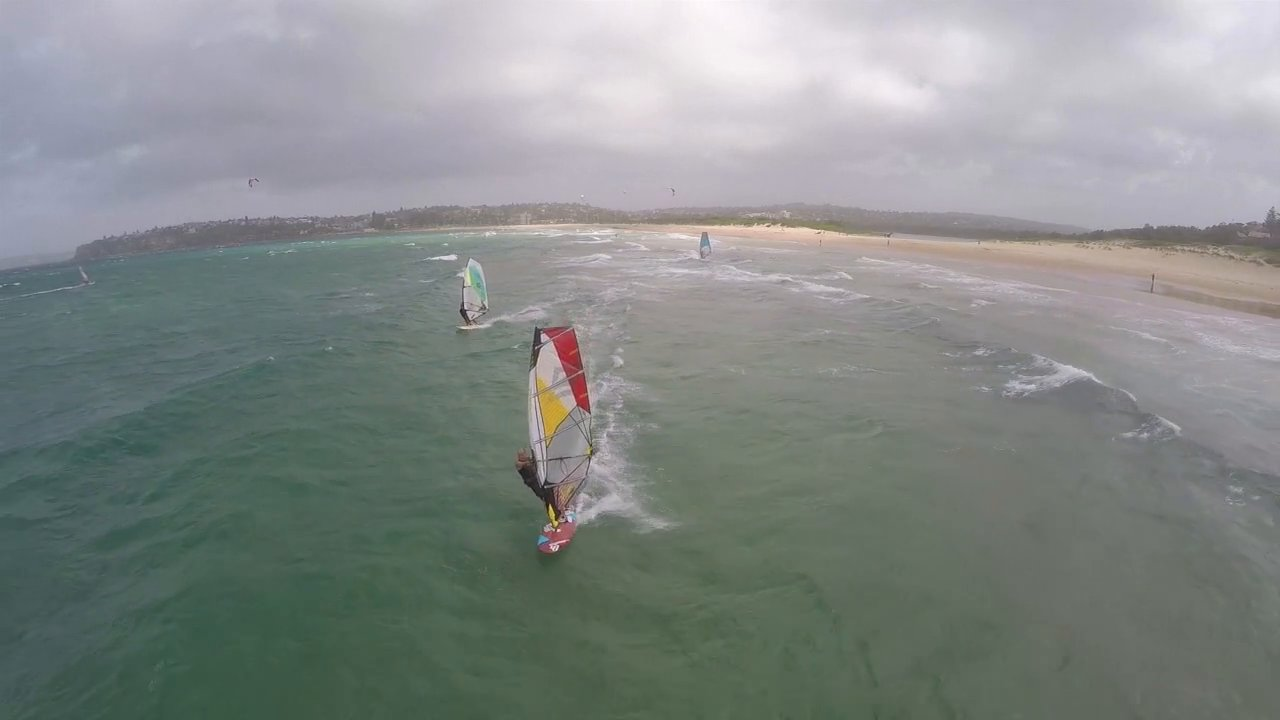 Windsurfing from the air (with some kites)